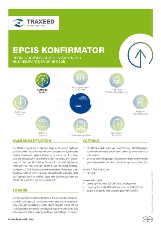 Traxeed 0028 CSDB Tool EPCIS Konfirmator