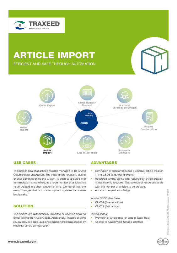 Traxeed 0024 CSDB Tool Article Import