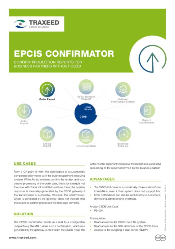 Traxeed 0028 CSDB Tool EPCIS Confirmator